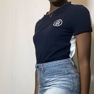 Navy Blue and White Tommy Hilfiger Shirt